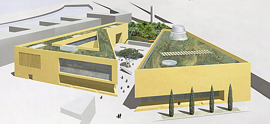 archaeological center mainz competition, perspective west